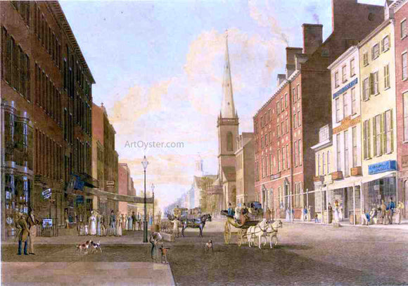 John William Hill Broadway Looking South from Liberty Street - Canvas Art Print
