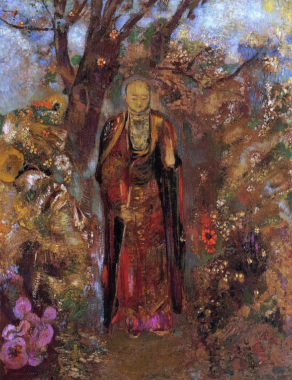 Odilon Redon Buddah Walking among the Flowers - Canvas Art Print