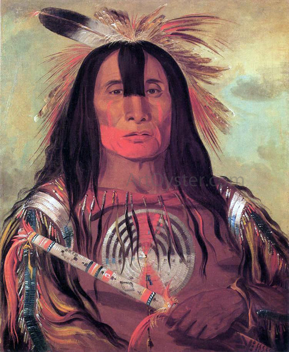 George Catlin A Buffalo Bull's Back Fat, Head Chief, Blood Tribe - Canvas Art Print