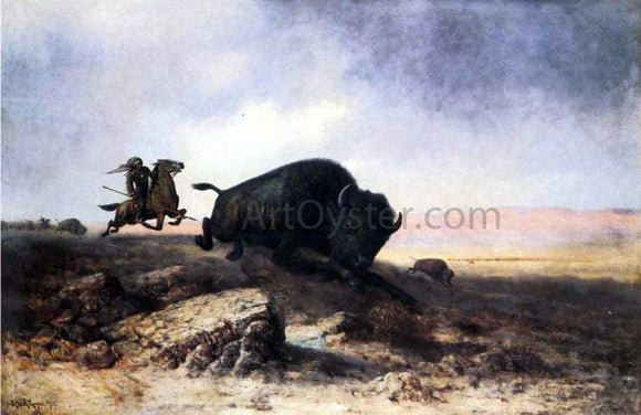 Astley Montague Cooper Buffalo Hunt - Canvas Art Print