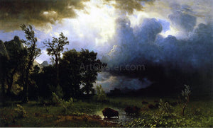 Albert Bierstadt Buffalo Trail: the Impending Storm (also known as The Last of the Buffalo) - Canvas Art Print