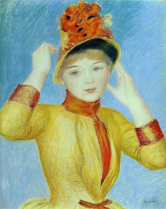 Pierre Auguste Renoir Bust of a Woman (also known as Yellow Dress) - Canvas Art Print
