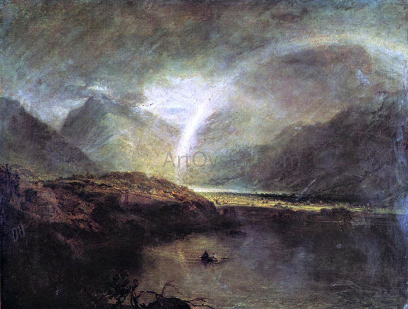Joseph William Turner Buttermere Lake, with Park of Cromackwater, Cumberland, a Shower - Canvas Art Print