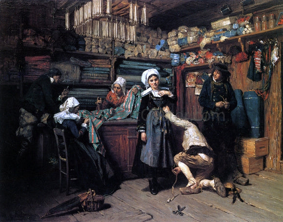 Henry Mosler Buying the Wedding Trousseau - Canvas Art Print