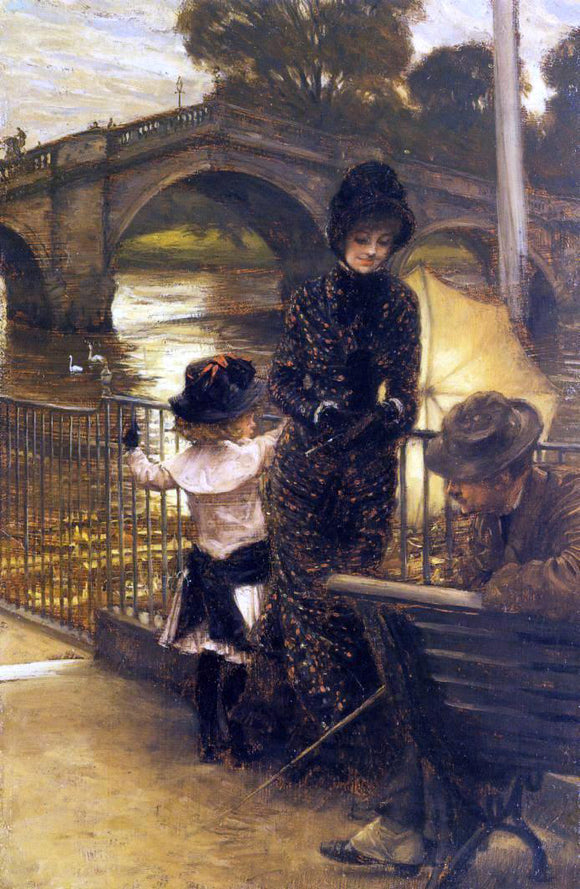 James Tissot By the Thames at Richmond - Canvas Art Print