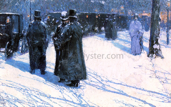 Frederick Childe Hassam Cab Stand at Night, Madison Square, New York - Canvas Art Print