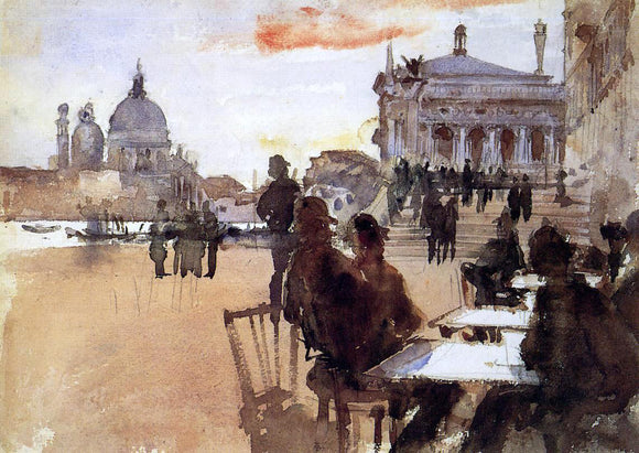 John Singer Sargent Cafe on the Riva degli Schiavoni - Canvas Art Print