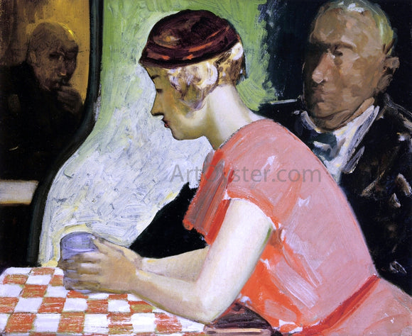 George Luks Cafe Scene - a Study of a Young Woman - Canvas Art Print