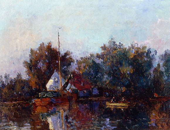 Albert Lebourg Canal in Holland near Rotterdam - Canvas Art Print