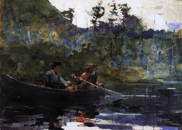 Winslow Homer Canoeing in the Adirondacks - Canvas Art Print