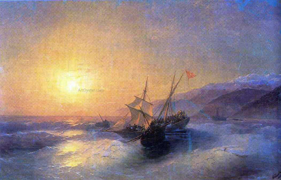 Ivan Constantinovich Aivazovsky Capture Turkish kocherma - Canvas Art Print