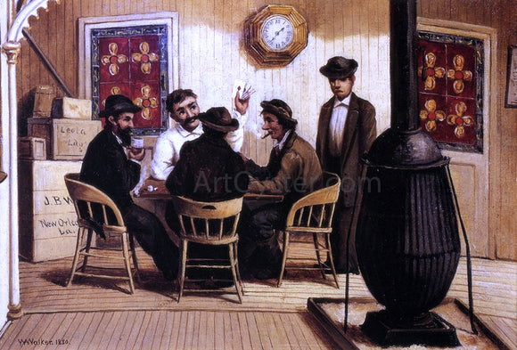 William Aiken Walker Card Players on the Steamboat - Canvas Art Print