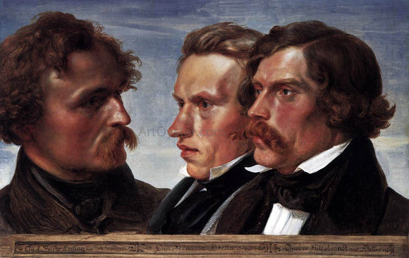 Julius Hubner Carl Friedrich Lessing, Carl Sohn, and Theodor Hildebrandt - Canvas Art Print