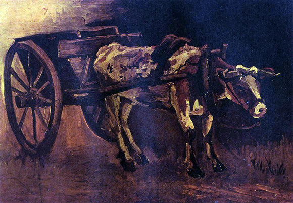 Vincent Van Gogh The Cart with Red and White Ox - Canvas Art Print
