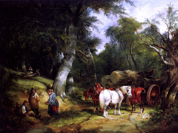 Senior William Shayer Carting Timber In The New Forest - Canvas Art Print