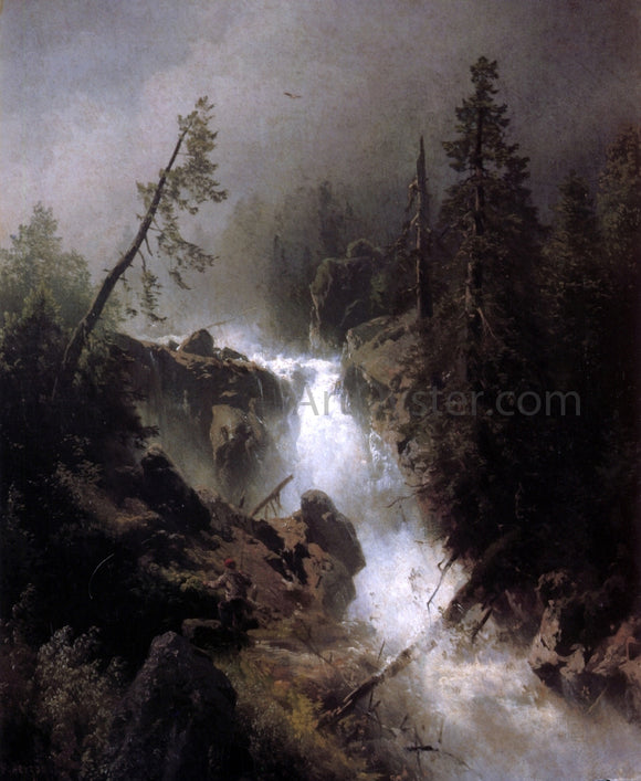 Herman Herzog Cascade with a Fisherman - Canvas Art Print
