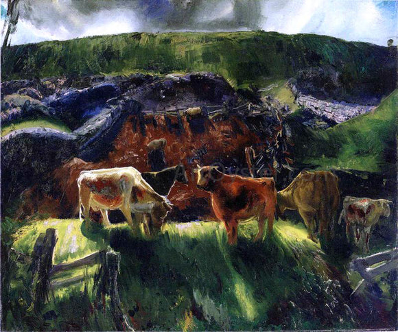 George Wesley Bellows Cattle and Pig Pen - Canvas Art Print