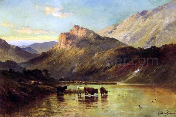 Senior Alfred De Breanski Cattle Watering in a Mountainous Landscape - Canvas Art Print