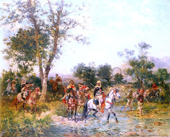 Georges Washington Cavaliers Arabes A L'Abreuvoir - Canvas Art Print