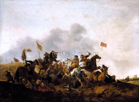 Philips Wouwerman Cavalry Skirmish - Canvas Art Print