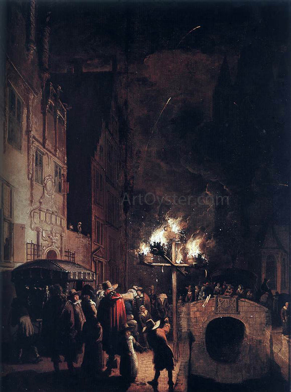 Egbert Van der Poel Celebration by Torchlight on the Oude Delft - Canvas Art Print