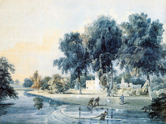 Thomas Girtin Chalfont House, Buckinghamshire, with Fishermen Netting the Broadwater - Canvas Art Print
