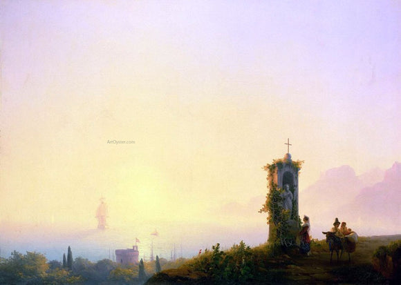Ivan Constantinovich Aivazovsky Chapel on seashore - Canvas Art Print