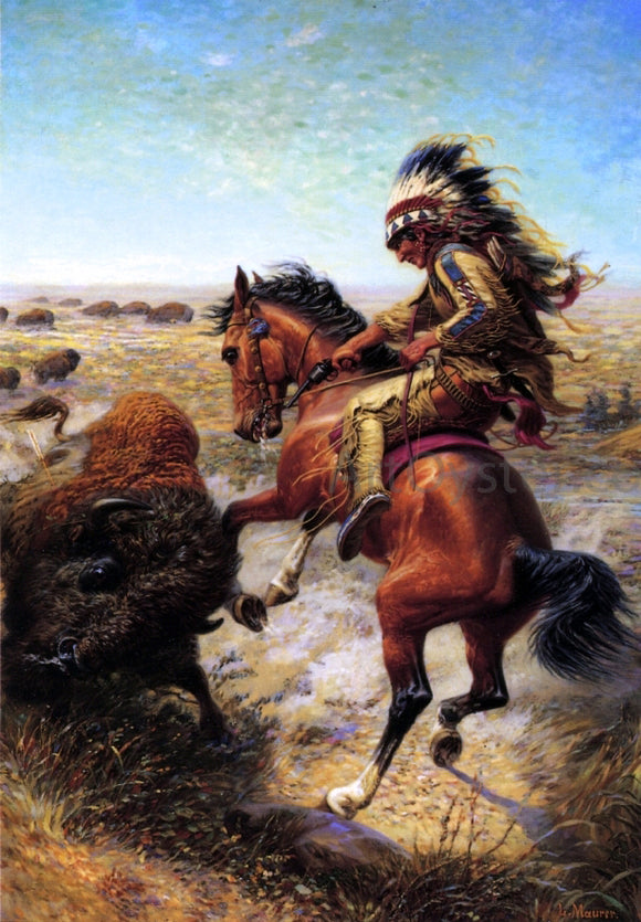 Louis Maurer Chief Spotted Tail Shooting Buffalo - Canvas Art Print