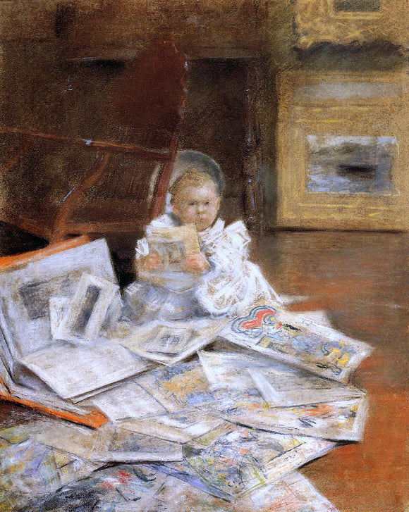 William Merritt Chase Child with Prints - Canvas Art Print