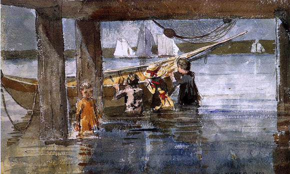 Winslow Homer Childred Playing under a Gloucester Wharf - Canvas Art Print