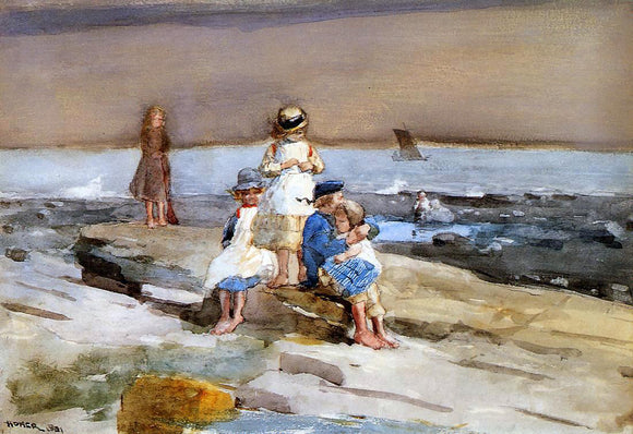 Winslow Homer Children on the Beach - Canvas Art Print