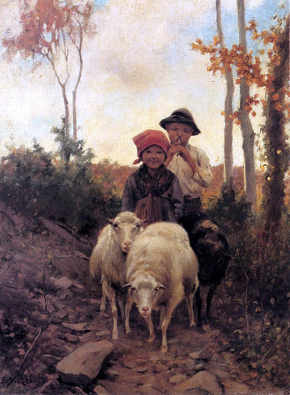 Stefano Bruzzi Children With Sheep On A Path - Canvas Art Print