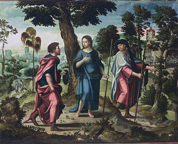 Pieter Coecke Van Aelst Christ and His Disciples on Their Way to Emmaus - Canvas Art Print