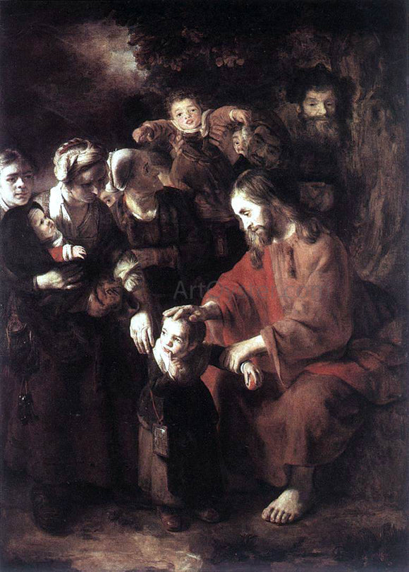 Nicolaes Maes Christ Blessing the Children - Canvas Art Print