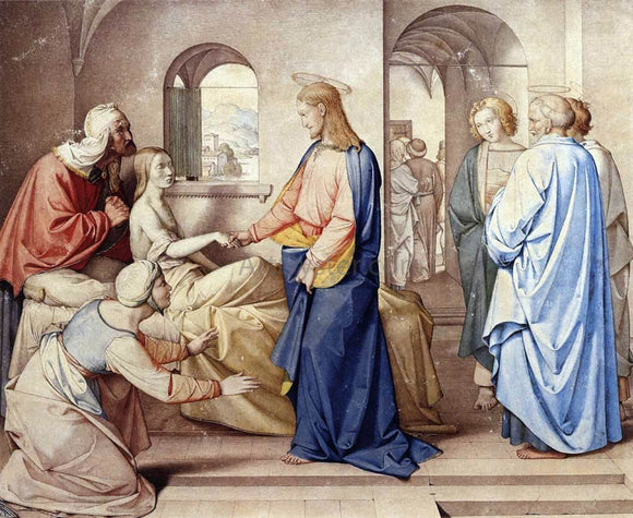 Johann Friedrich Overbeck Christ Resurrects the Daughter of Jairus - Canvas Art Print