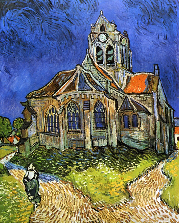 Vincent Van Gogh A Church at Auvers (also known as The Church at Auvers) - Canvas Art Print