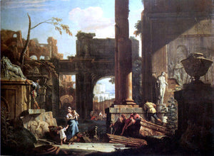 Sebastiano Ricci Classical Ruins and Figures - Canvas Art Print