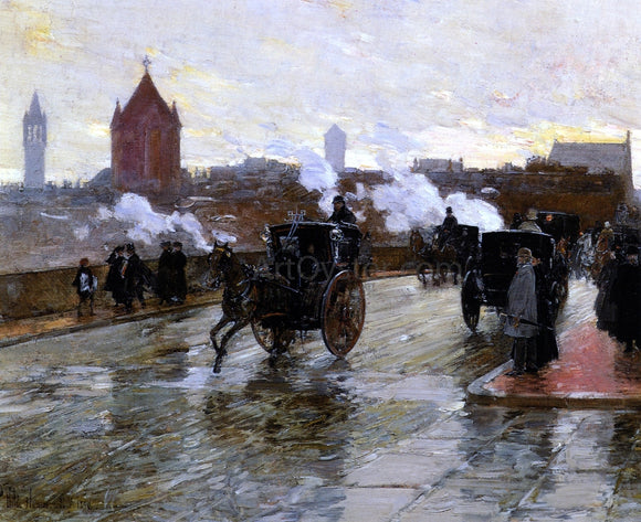 Frederick Childe Hassam Clearing Sunset (also known as Corner of Berkeley Street and Columbus Avenue) - Canvas Art Print