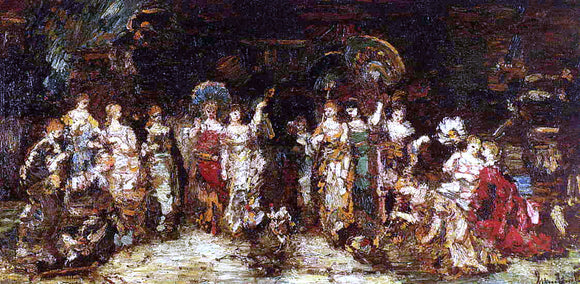 Adolphe-Joseph-Thomas Monticelli Cock Fight in Front of a Group of Young Women - Canvas Art Print