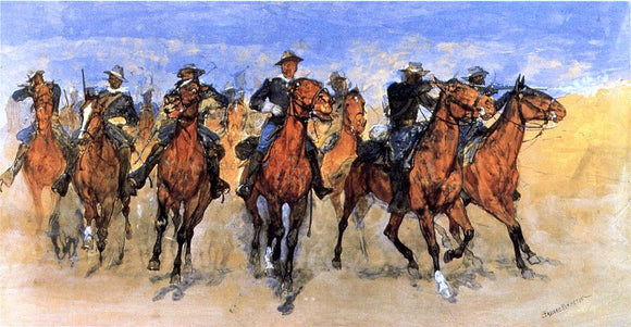 Frederic Remington Colored Troopers to the Rescue - Canvas Art Print