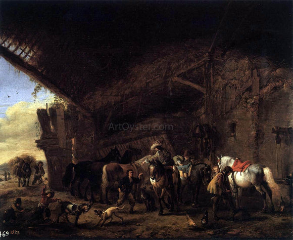 Philips Wouwerman Coming out of an Inn - Canvas Art Print