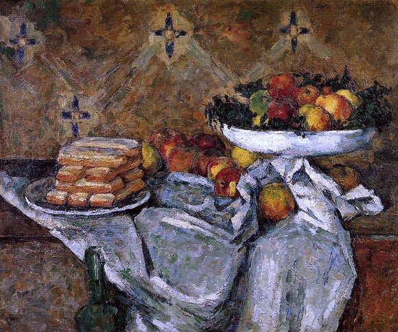 Paul Cezanne Compotier and Plate of Biscuits - Canvas Art Print