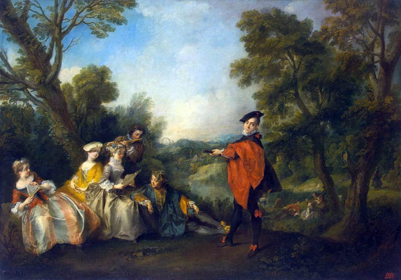 Nicolas Lancret Concert in the Park - Canvas Art Print