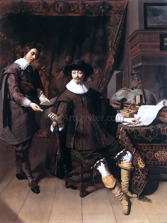Thomas De Keyser Constantijn Huygens and his Clerk - Canvas Art Print