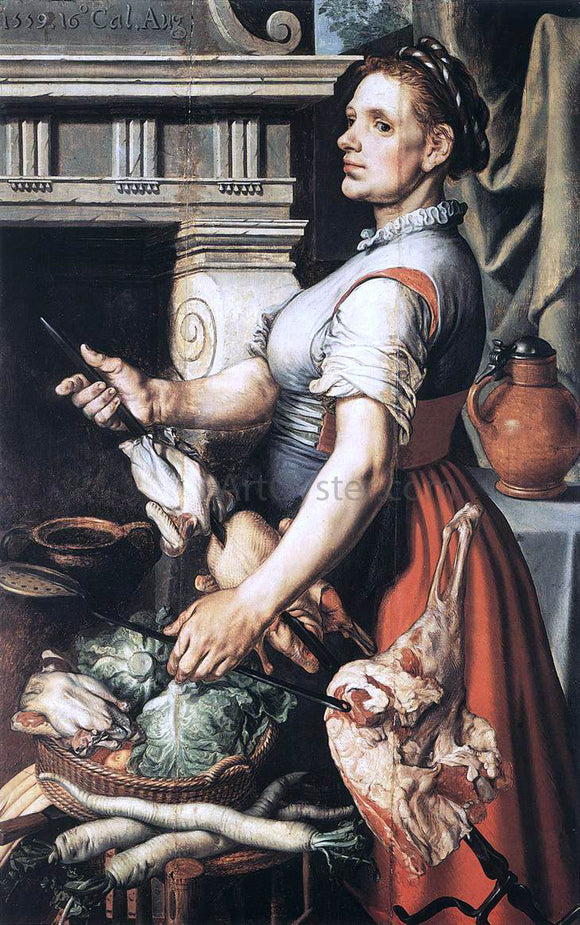 Pieter Aertsen Cook in Front of the Stove - Canvas Art Print