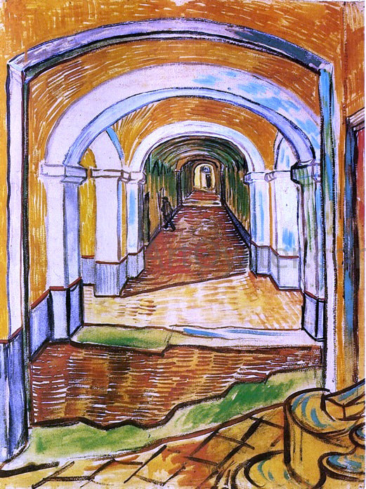 Vincent Van Gogh Corridor in Saint-Paul Hospital - Canvas Art Print