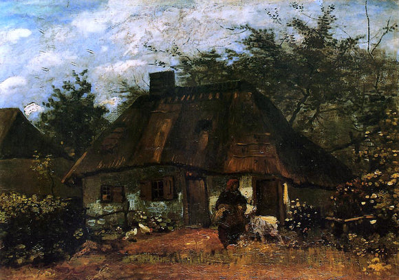 Vincent Van Gogh The Cottage and Woman with Goat - Canvas Art Print