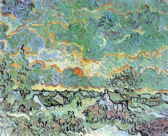 Vincent Van Gogh Cottages and Cypresses: Reminiscence of the North - Canvas Art Print