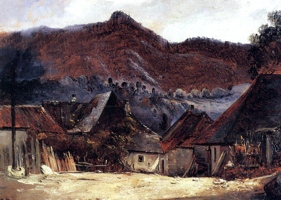 Theodore Rousseau Cottages in the Jura - Canvas Art Print