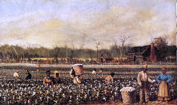 William Aiken Walker Cotton Picking in Front of the Quarters - Canvas Art Print